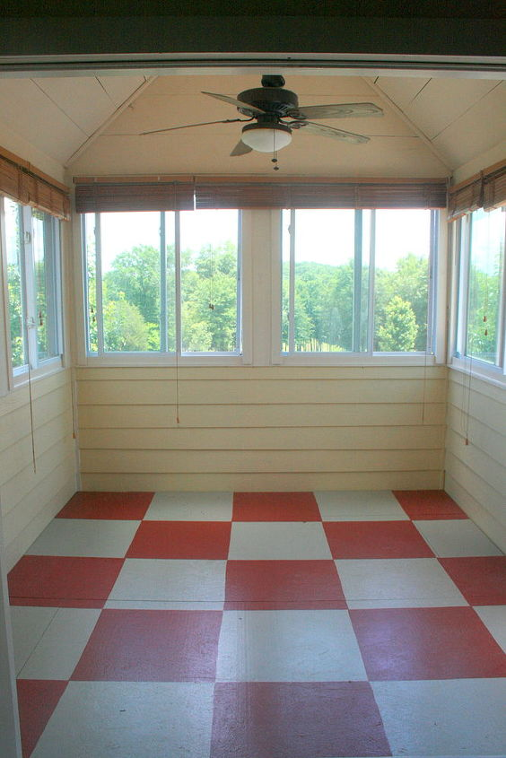 how to paint a floor, flooring, painting, Red and off white painted checkered floor