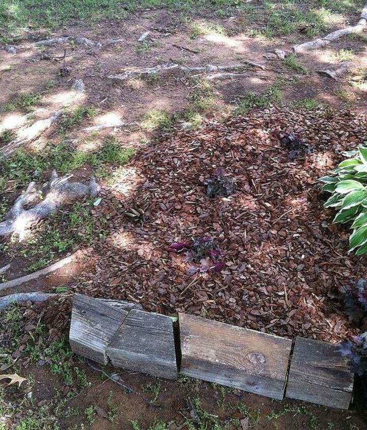 recycle fake wood decking as edging, gardening, landscape