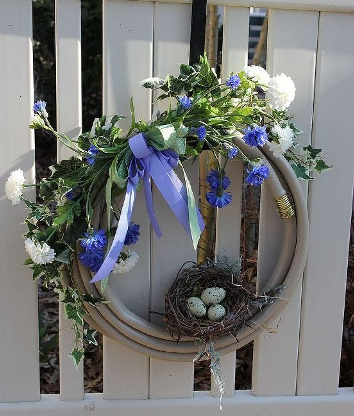 This is the first watering hose wreath I made.  The one my neighbor liked.
