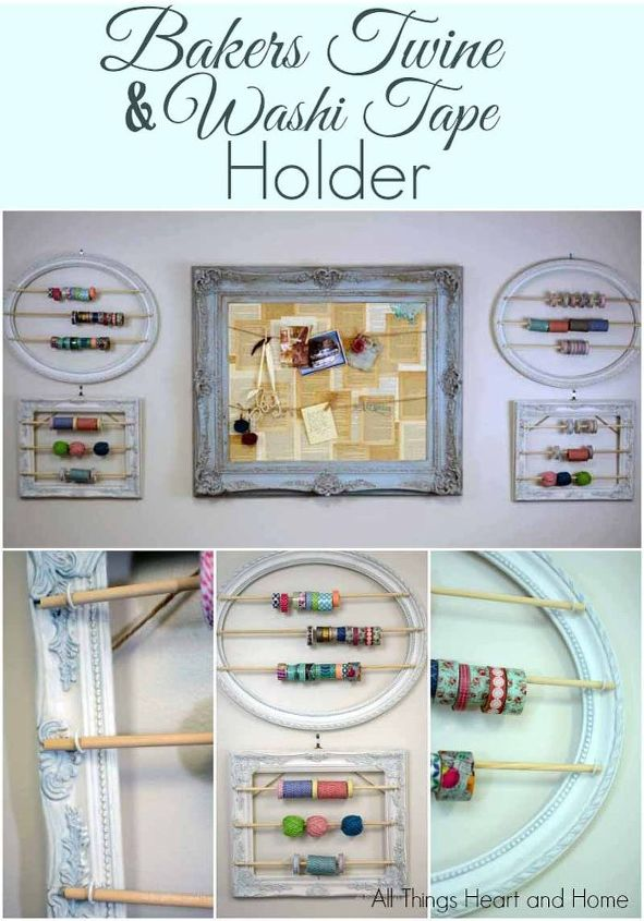 craft room makeover baker s twine washi tape holder, cleaning tips, craft rooms, crafts, home decor, home office, painting