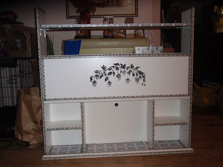 The shelf and stencil complete the look.