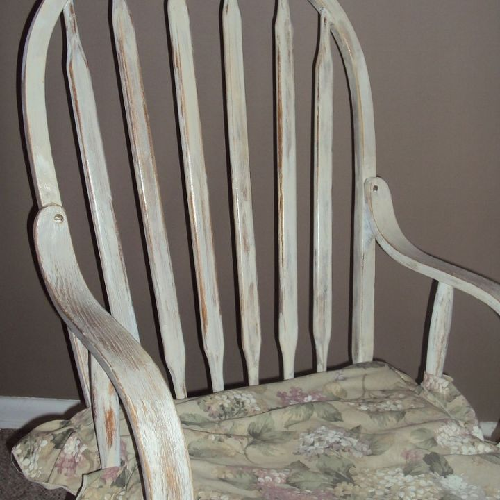 rocking chair repair and refinish, painted furniture, shabby chic, The salvaged Rocker after