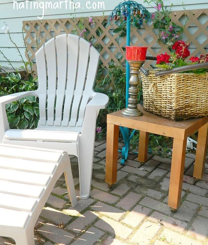 spray an cast off endtable with outdoor paint and bring it outside.