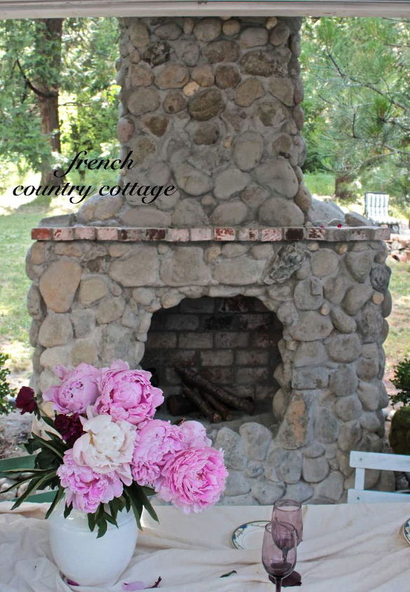 outdoor rock amp brick fireplace, fireplaces mantels, outdoor living