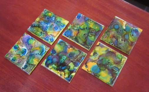 diy alcohol ink coasters and light switch covers, crafts, decoupage, repurposing upcycling