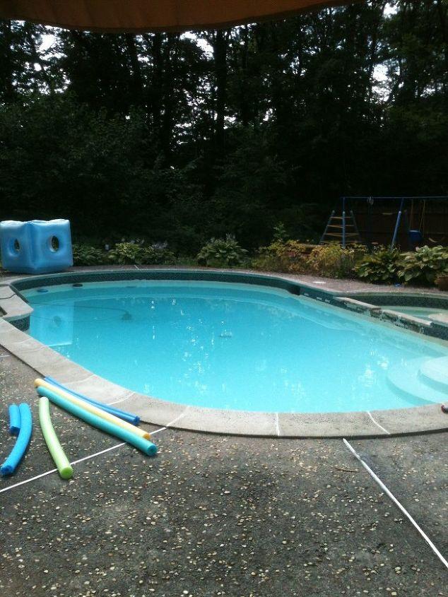 q tile over concrete patio, concrete masonry, patio, pool designs