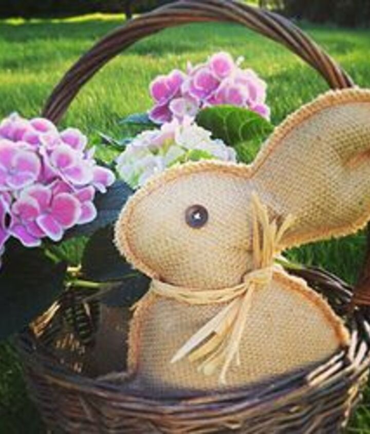 last minute burlap bunny project, crafts, easter decorations, seasonal holiday decor