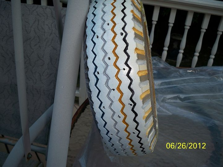 the leopart tire planter, gardening, repurposing upcycling, Well of course I painted the treads I mean just look that pretty chevron design and besides you didn t really think I d pass up this tedious opportunity DID YOU