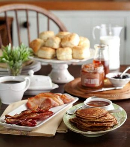 What is better served on a Farmhouse Table than a huge home-cooked farm-style breakfast?