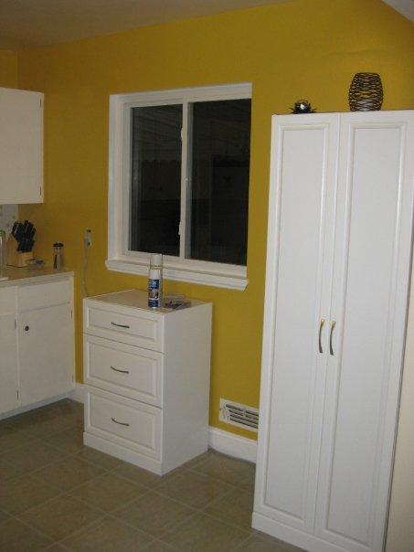 q what would you do to this kitchen, doors, home decor, kitchen backsplash, kitchen design, B4 Looking right into kitchen The short and tall cabinet are free standing added for extra storage and easy to remove