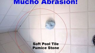 q bathroom deep cleaning time professional cleaners vs homeowners, bathroom ideas, cleaning tips, In this Round I tried heavy duty abrasion my pool pumice stone It worked on the surface but not for the embedded junk Bar Keepers Friend did as well and is cheaper