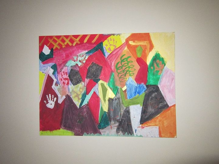 """""""Crystals"""" painted by my 6 year old boys on canvas with craft and finger paint , unframed stretched on wood frame 3x4 feet. It is in the piano room."""