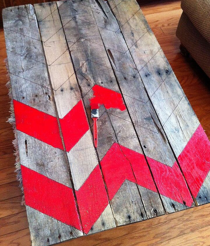 how to make a chevron pallet ornament christmas tree, crafts, pallet, seasonal holiday decor, Use my EASY to understand Chevron tutorial to draw the chevron pattern on your pallet