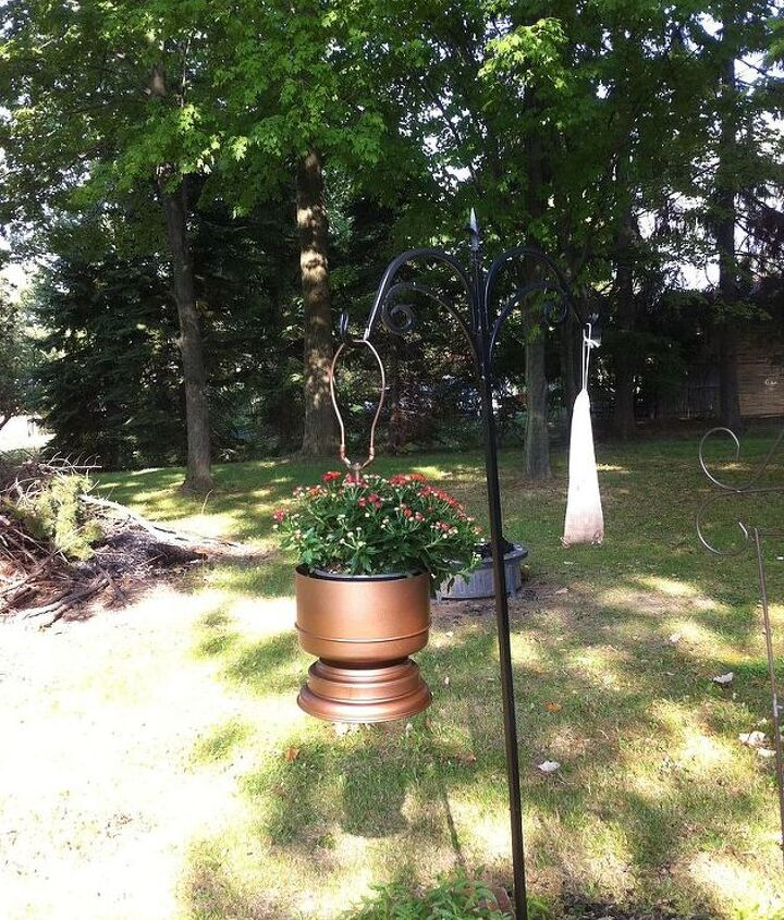 brass lamp finds new life as hanging planter, flowers, gardening, repurposing upcycling