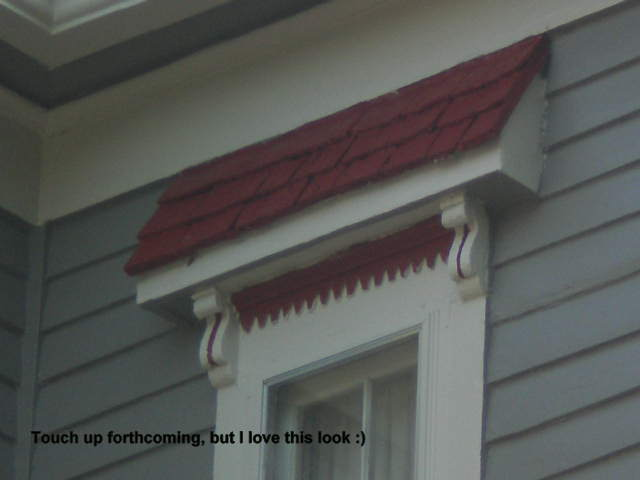 detail of the trimwork above the windows. Very unique! Looked horrid in robin's egg blue, looks so much better now :)
