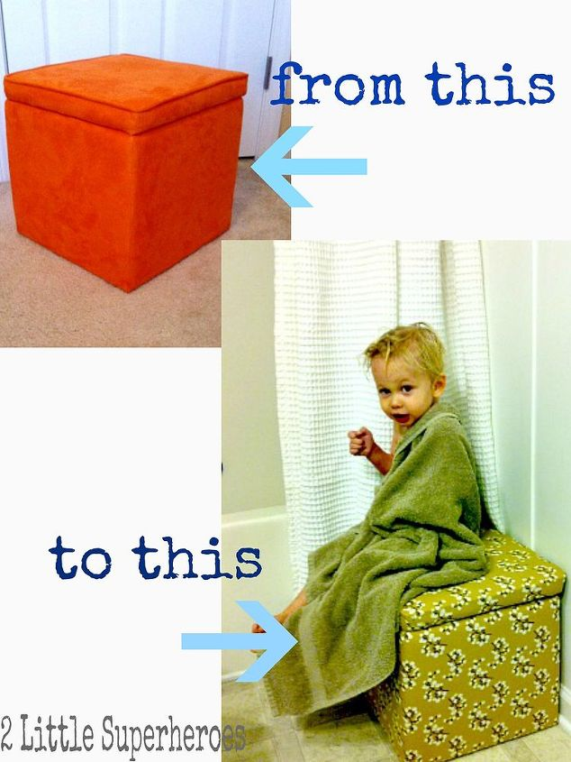 Take an ugly $10 storage cube from Target and cover with your favourite fabric.