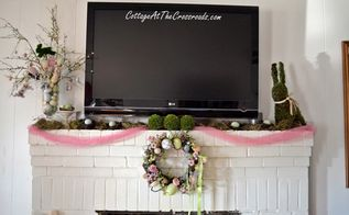 our spring mantel, easter decorations, seasonal holiday d cor, wreaths, The pink tulle brings out all the pretty spring colors in the wreath