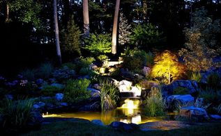 color in the landscape, go green, outdoor living, ponds water features, Stunning Nightime Views From The House
