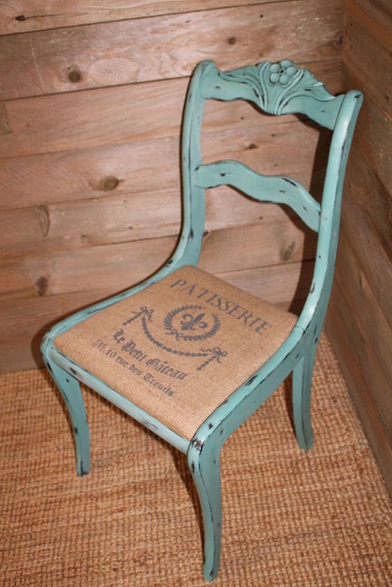 old dining chair turned accent piece, painted furniture, rustic furniture