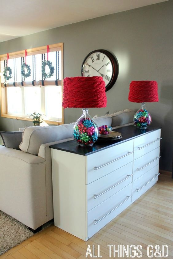 The IKEA Tarva dresser I transformed into a kitchen sideboard all decked out for Christmas!
