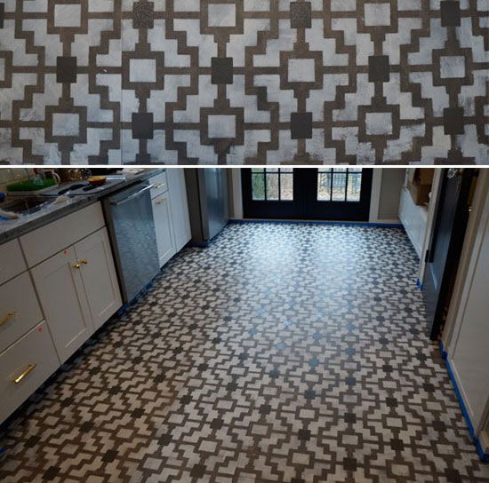 Finished stenciled Shipibo floor with Cutting Edge Stencils