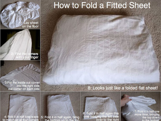how to fold a fitted sheet, cleaning tips, organizing