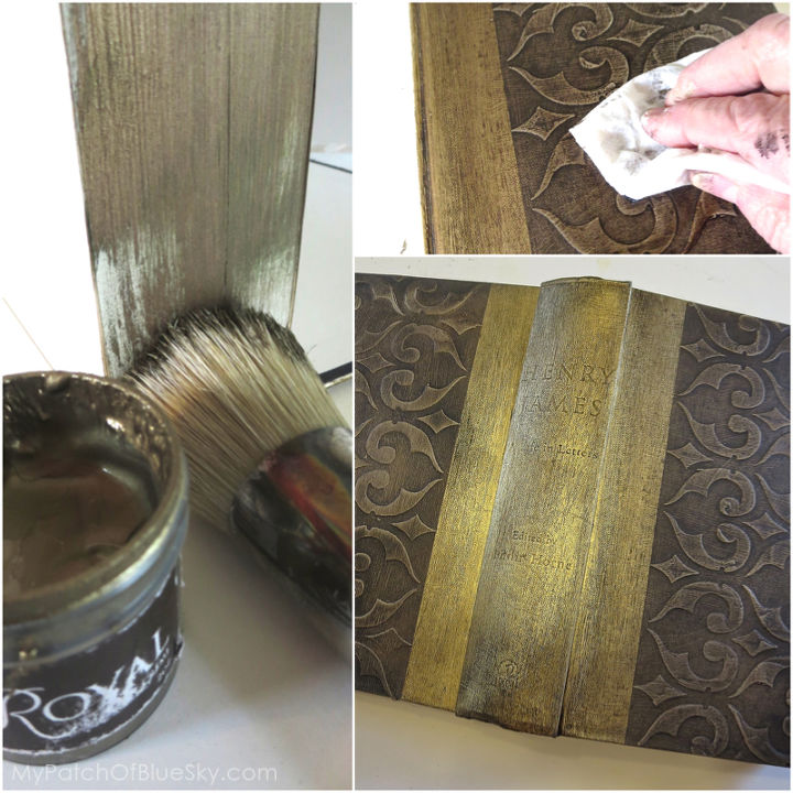 Use a fat stencil brush to paint on Royal Design Studio stencil creme in Antique Gold. Wipe the book cover with Annie Sloan Dark Soft Wax and buff.