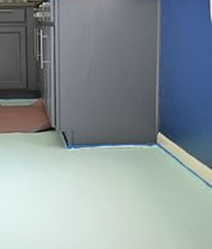 diy painted and stenciled linoleum floor, diy, flooring, how to, painting, I then painted on 2 coats of Glidden Porch and Floor in a soft mint color