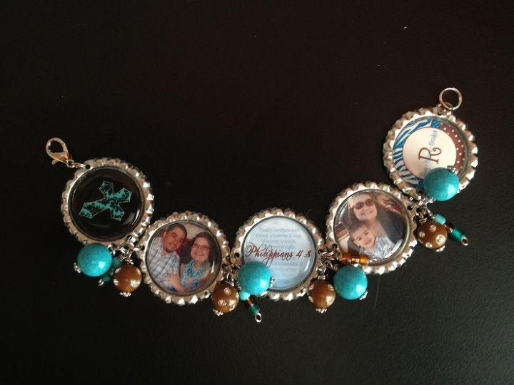 Bottlecap Bracelet made with personal photos, scriptures and beads I had laying around. I spent only $2.47 making this!