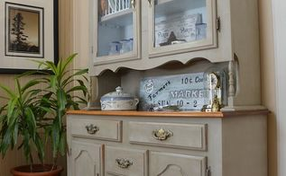 farmhouse china cabinet makeover, home decor, painted furniture, and the finished look