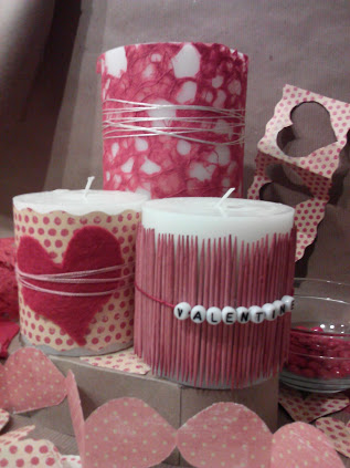 changeable valentine candle decor, crafts, seasonal holiday decor, valentines day ideas, Wrap your plain old pillar candles with fancy papers fabric or trim