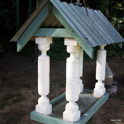 Used 4 posts cut to size for the columns, topped with old tin for the roof.