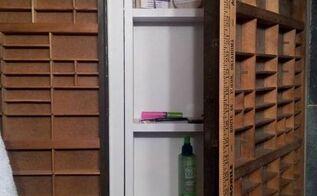 medicine cabinet redo with printers trays, repurposing upcycling, storage ideas