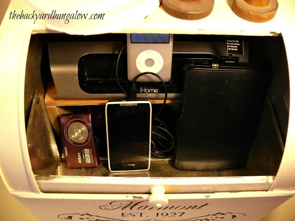 Hiding the clutter inside the breadbox to create a charging station.
