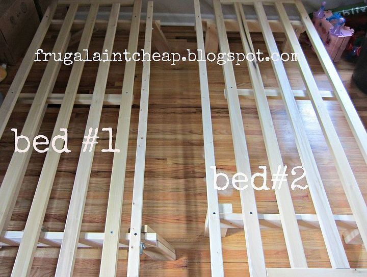 1 futon frame turned into 2 twin size bed frames, diy, painted furniture, woodworking projects