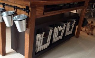 old library table beat up to kitchen island, kitchen design, kitchen island, painted furniture, repurposing upcycling