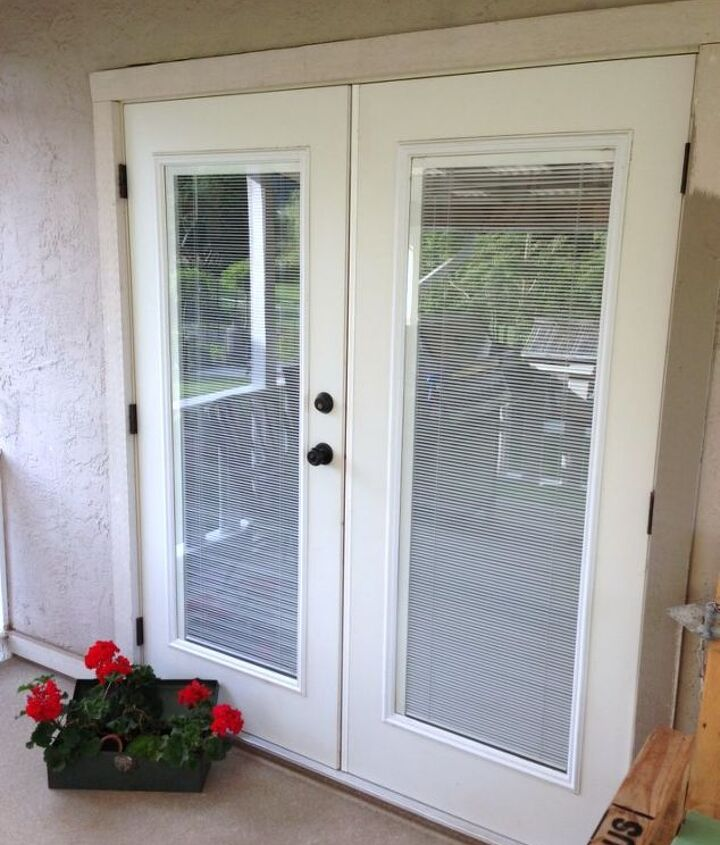 Our double french doors leading to the patio open towards the outside. We like both WIDE open all summer long.