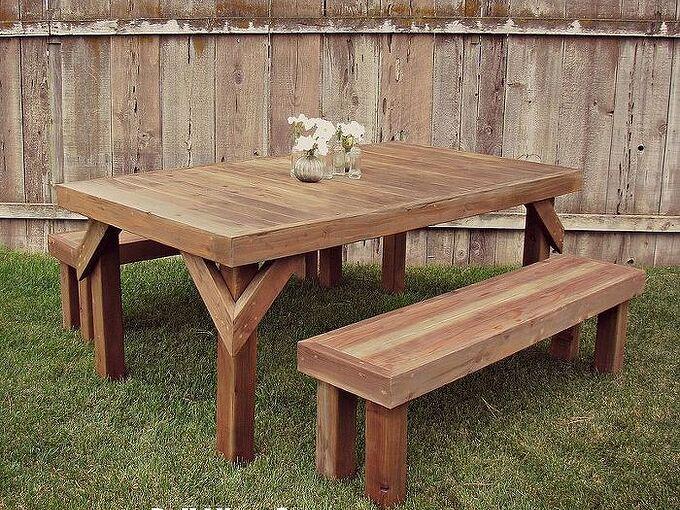 diy cedar picnic table, diy, outdoor furniture, outdoor living, painted furniture, rustic furniture, woodworking projects