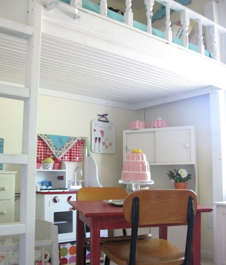 lofted cottage bed for our little girl s dream room, bedroom ideas, diy, home decor, painted furniture, repurposing upcycling, The box for the mattress was fastened to the studs in the wall