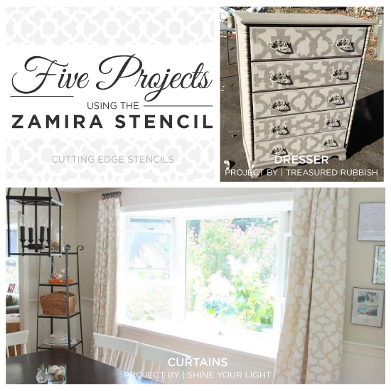 five projects using the zamira stencil, home decor, painted furniture, wall decor, Cutting Edge Stencils shares five stencil projects to create eye catching home decor using our popular Zamira Allover pattern