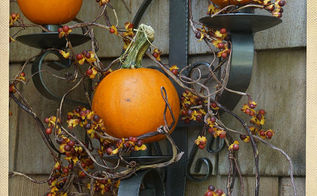 my back porch ready for fall, crafts, seasonal holiday decor, The baby pumpkin wall sconce up close