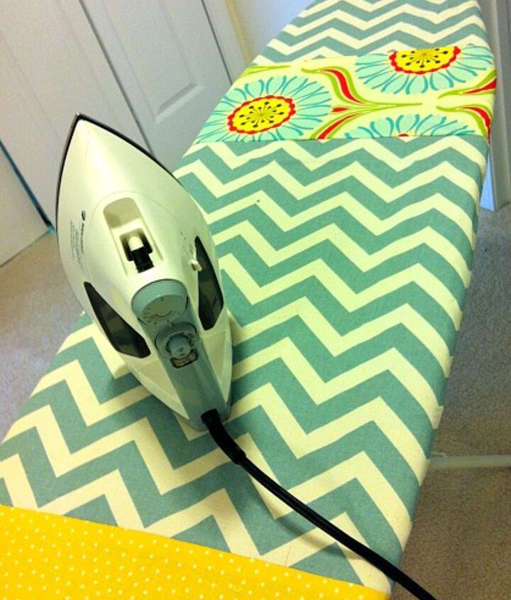 scrap fabric ironing board makeover, crafts, laundry rooms