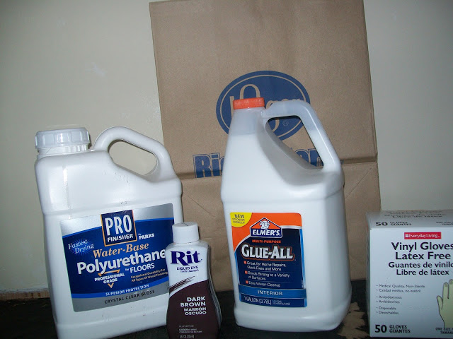 Gather your supplies:  rit dye, paper bags, Elmer's glue all, water based polyurethane, vinyl gloves
