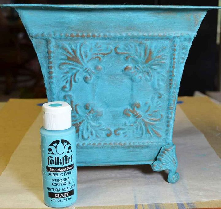easy faux verdigris on thrift store planter, painting, repurposing upcycling