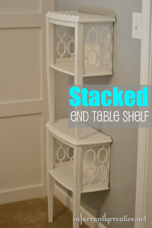 stacked end table shelf, painted furniture, shelving ideas