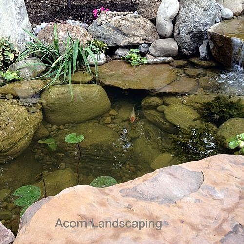 Landscaping Ponds And Waterfalls: Amazing Backyard Waterfall Fish Pond With Paver Patio