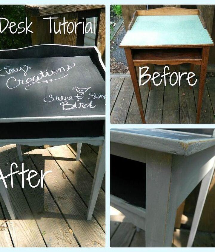 chalkboard top desk redo, chalk paint, chalkboard paint, painted furniture