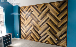diy herringbone wood paneled wall, wall decor, woodworking projects, DIY Herringbone Wood Paneled Wall