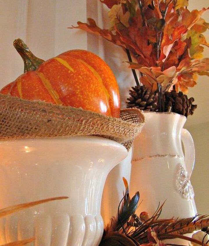 our fall mantel, seasonal holiday decor