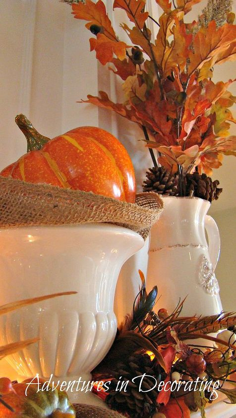 our fall mantel, seasonal holiday decor